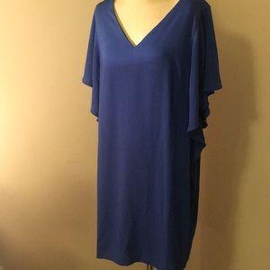 Flutter sleeve blue dress